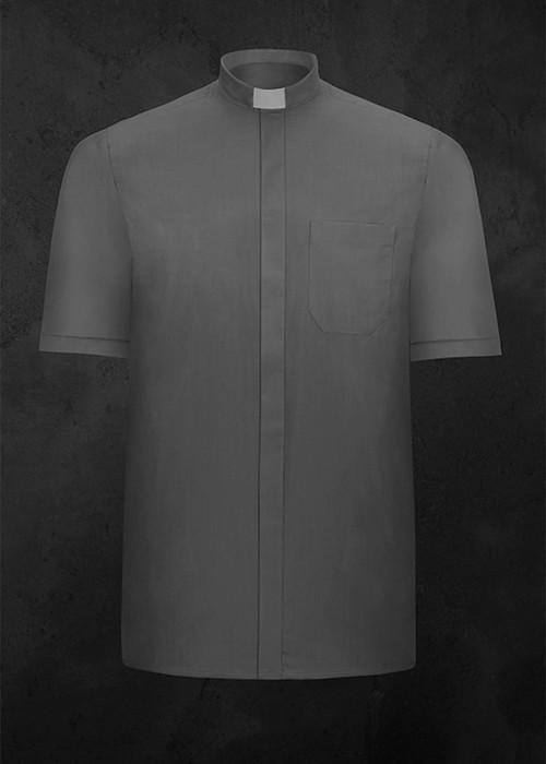 Koszula kapłańska z krótkim rękawem ciemnoszara