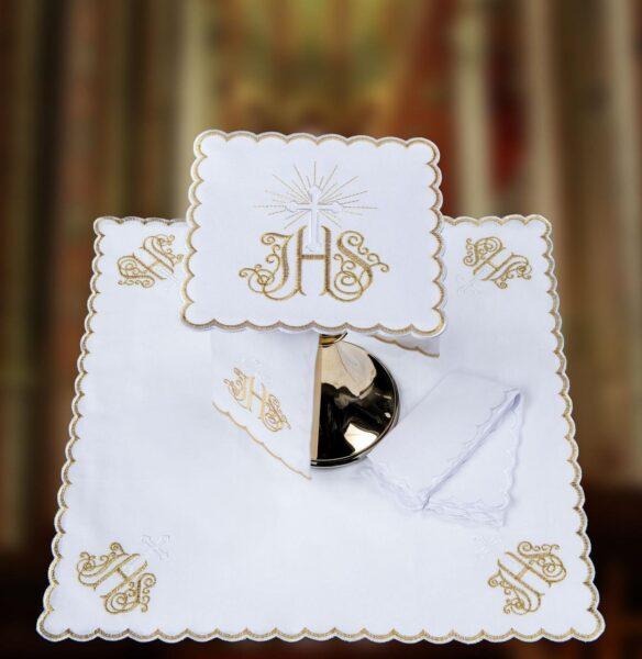Bielizna kielichowa haft złoty IHS, srebrny krzyżyk