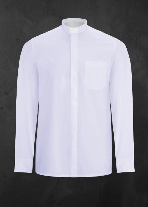 Koszula kapłańska z długim rękawem biała