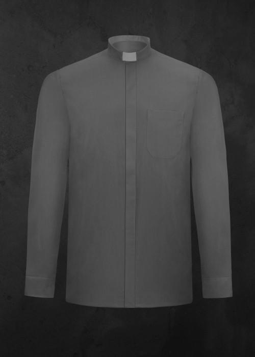 Koszula kapłańska z długim rękawem ciemnoszara