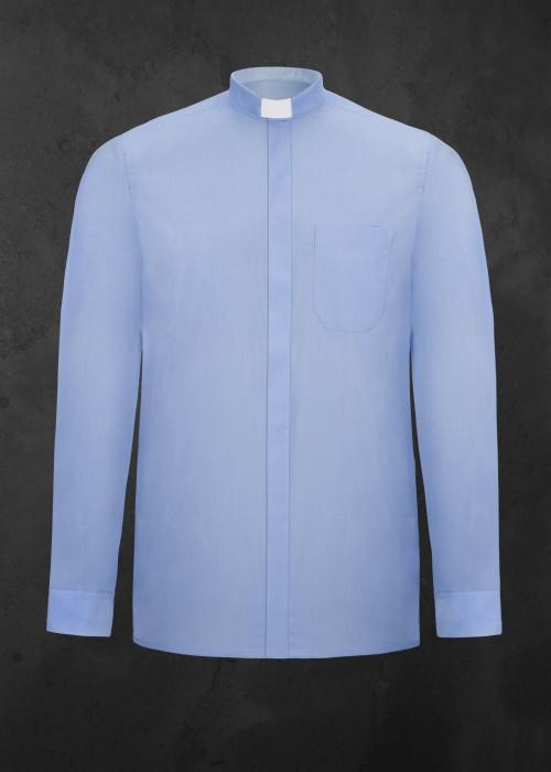 Koszula kapłańska z długim rękawem niebieska