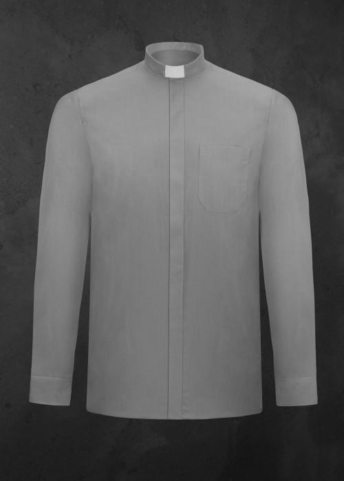 Koszula kapłańska z długim rękawem jasnoszara