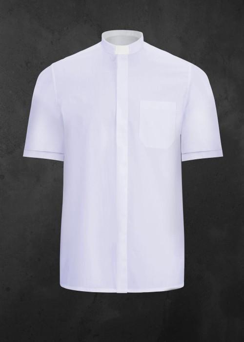 Koszula kapłańska z krótkim rękawem biała