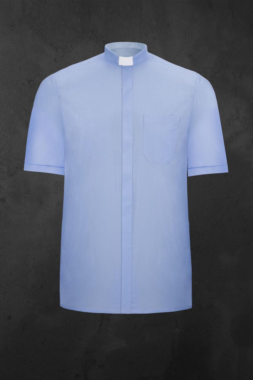 priesterhemd mit kurzen Ärmeln, blau