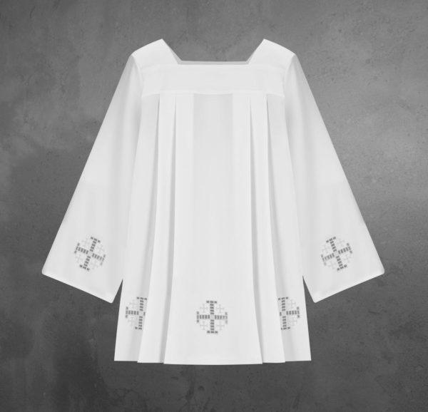Komża żorżeta wypalany krzyż biały