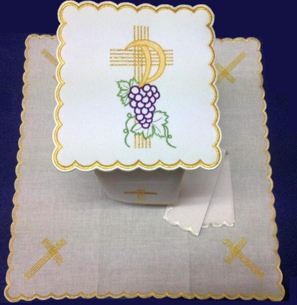 Bielizna kielichowa haft krzyż winogron