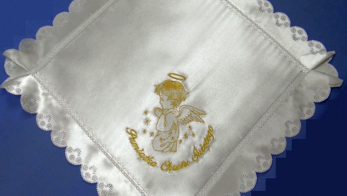 Szatka do chrztu kwadrat aniołek złoty