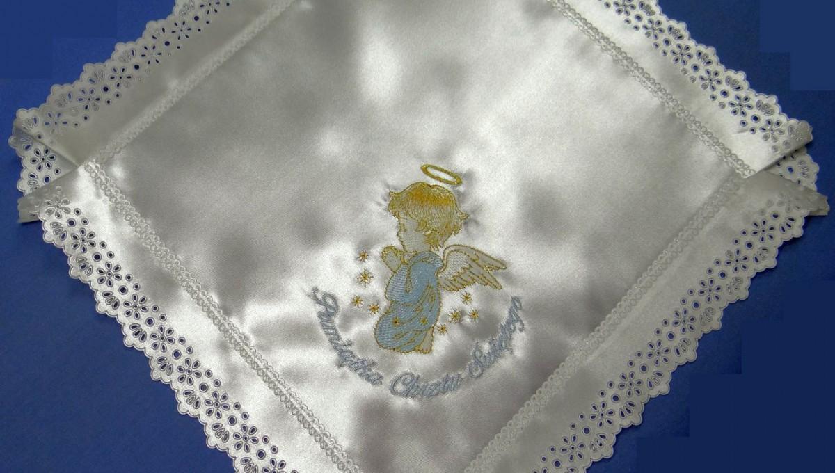 Szatka do chrztu kwadrat aniołek niebieski
