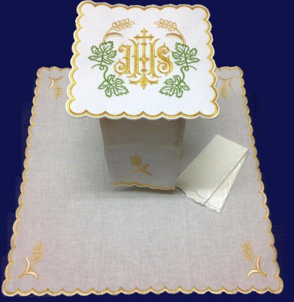 Bielizna kielichowa haft IHS liść