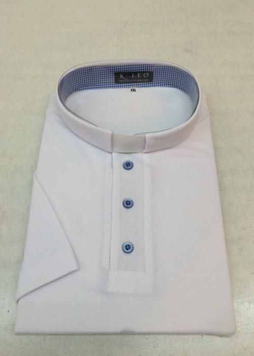 Koszula Polo kapłańska z krótkim rękawem biała