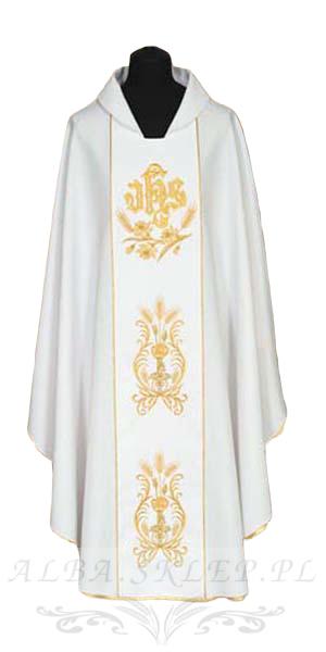 Ornat haftowany biały IHS Kłos - Szaty liturgiczne, alby, dewocjonalia  ALBA.SKLEP.PL